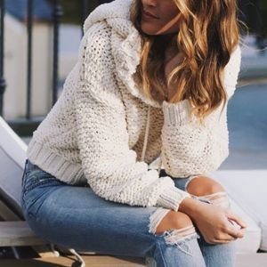 Free People Cream Hooded Chunky Knit Sweater